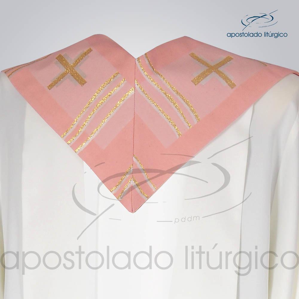 Estola Presbiteral Brocada Cruz Caminho Rosa Costas | Apostolado Litúrgico Brasil