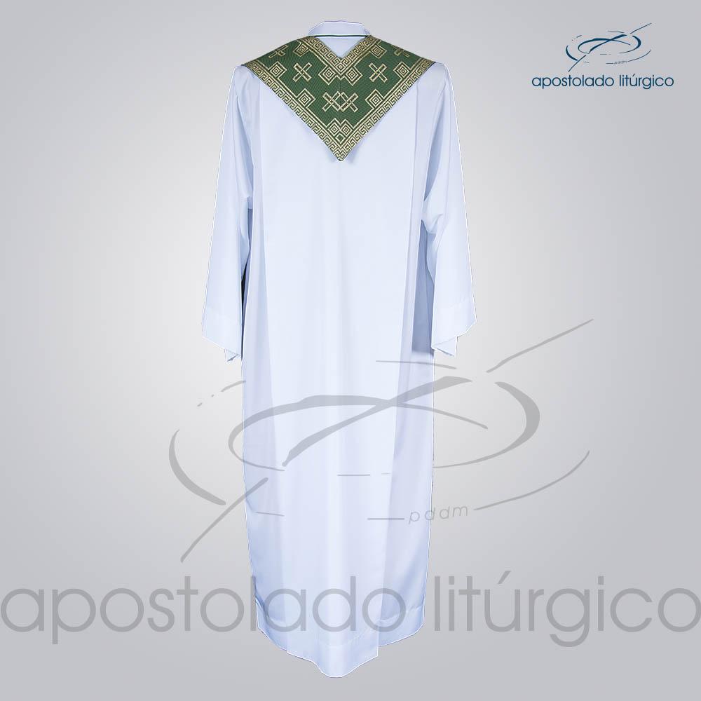 Estola Presbiteral Brocada Cruz Verde Costas   Apostolado Litúrgico Brasil