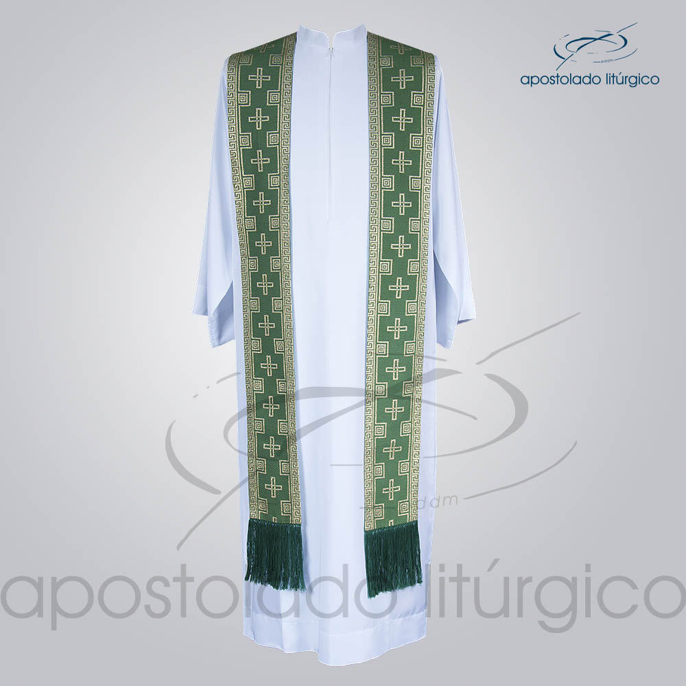 Estola Presbiteral Brocada Cruz Verde Frente   Apostolado Litúrgico Brasil