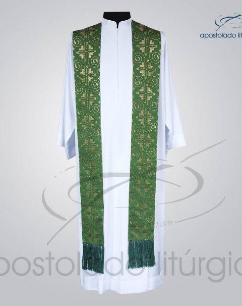 Estola Presbiteral Brocada [Grega Indigena] Verde Frente