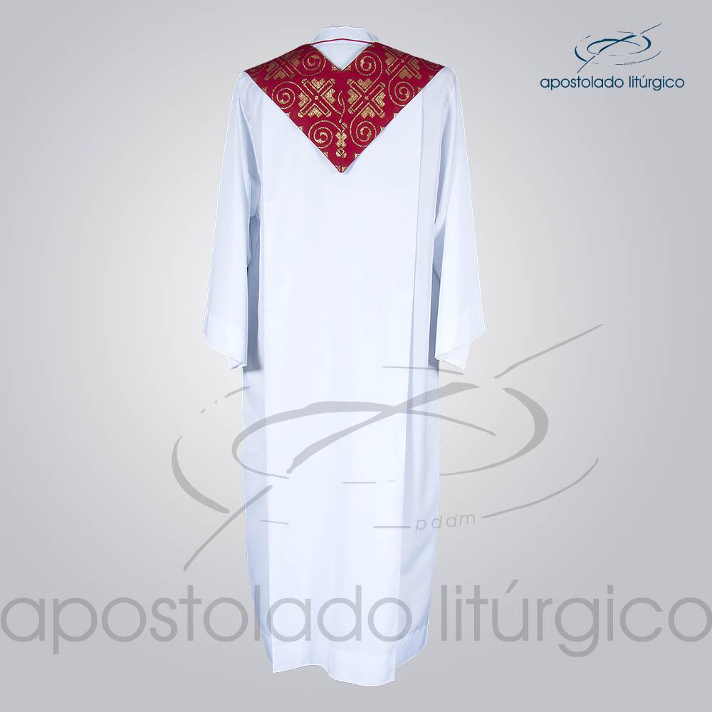 Estola Presbiteral Brocada Grega Indigena Vermelha Costas | Apostolado Litúrgico Brasil