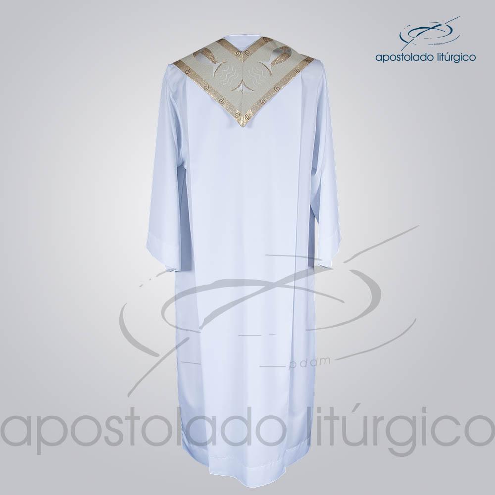 Estola Presbiteral Brocada Peixe Branca Costas | Apostolado Litúrgico Brasil