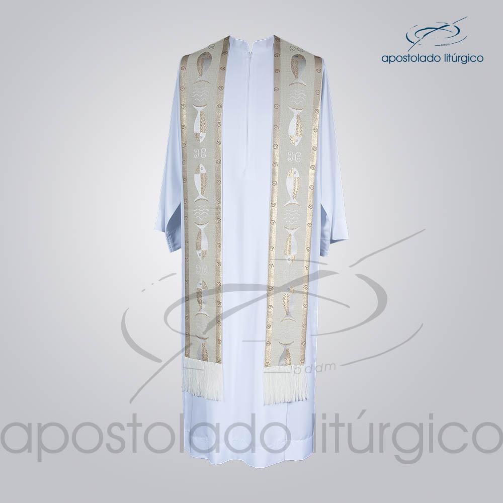 Estola Presbiteral Brocada Peixe Branca Frente | Apostolado Litúrgico Brasil