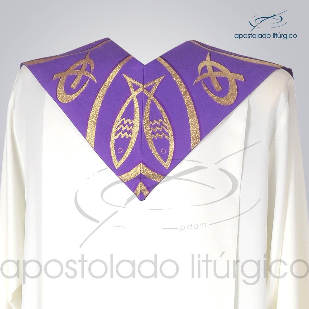 Estola Presbiteral Brocada Peixe Pao 2 Roxa Costas | Apostolado Litúrgico Brasil