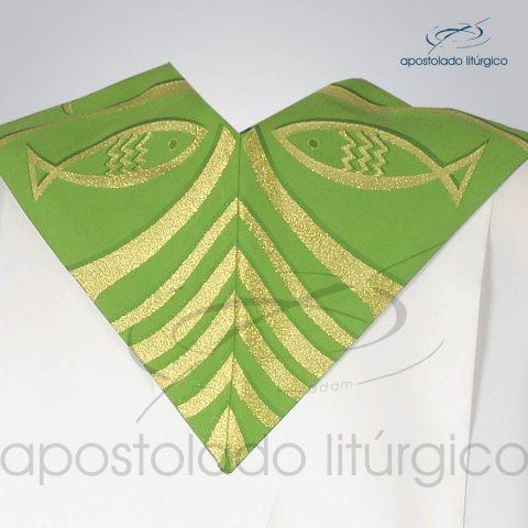 Estola Presbiteral Brocada [Peixe Pao 2] Verde Costas