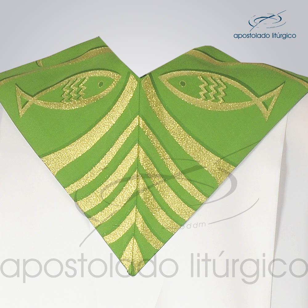 Estola Presbiteral Brocada Peixe Pao 2 Verde Costas | Apostolado Litúrgico Brasil