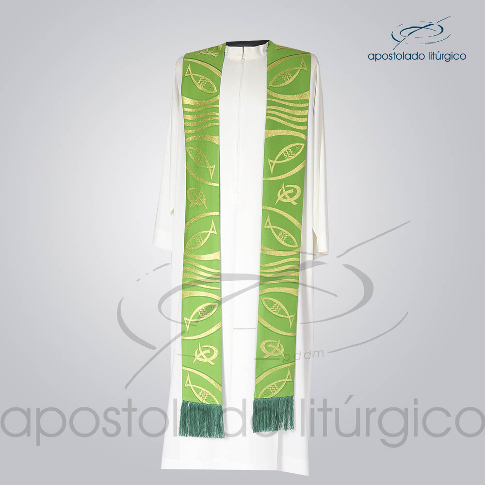 Estola Presbiteral Brocada Peixe Pao 2 Verde Frente | Apostolado Litúrgico Brasil