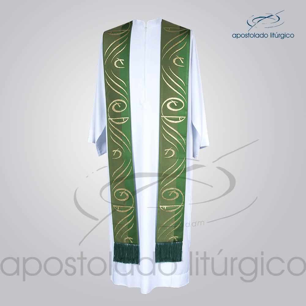 Estola Presbiteral Brocada Peixe Pao Verde Frente | Apostolado Litúrgico Brasil