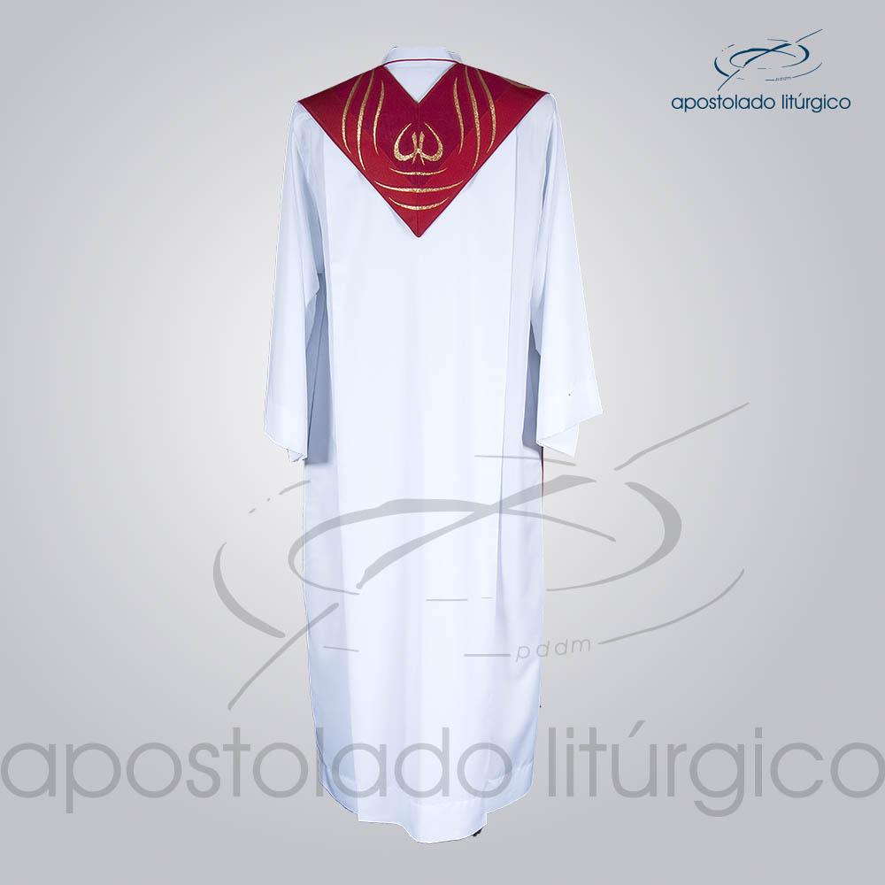 Estola Presbiteral Brocada Peixe Pao Vermelha Costas   Apostolado Litúrgico Brasil