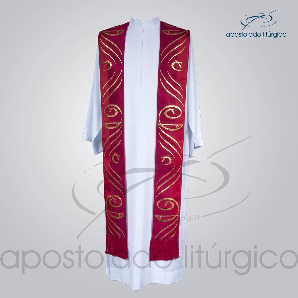 Estola Presbiteral Brocada Peixe Pao Vermelha Frente | Apostolado Litúrgico Brasil