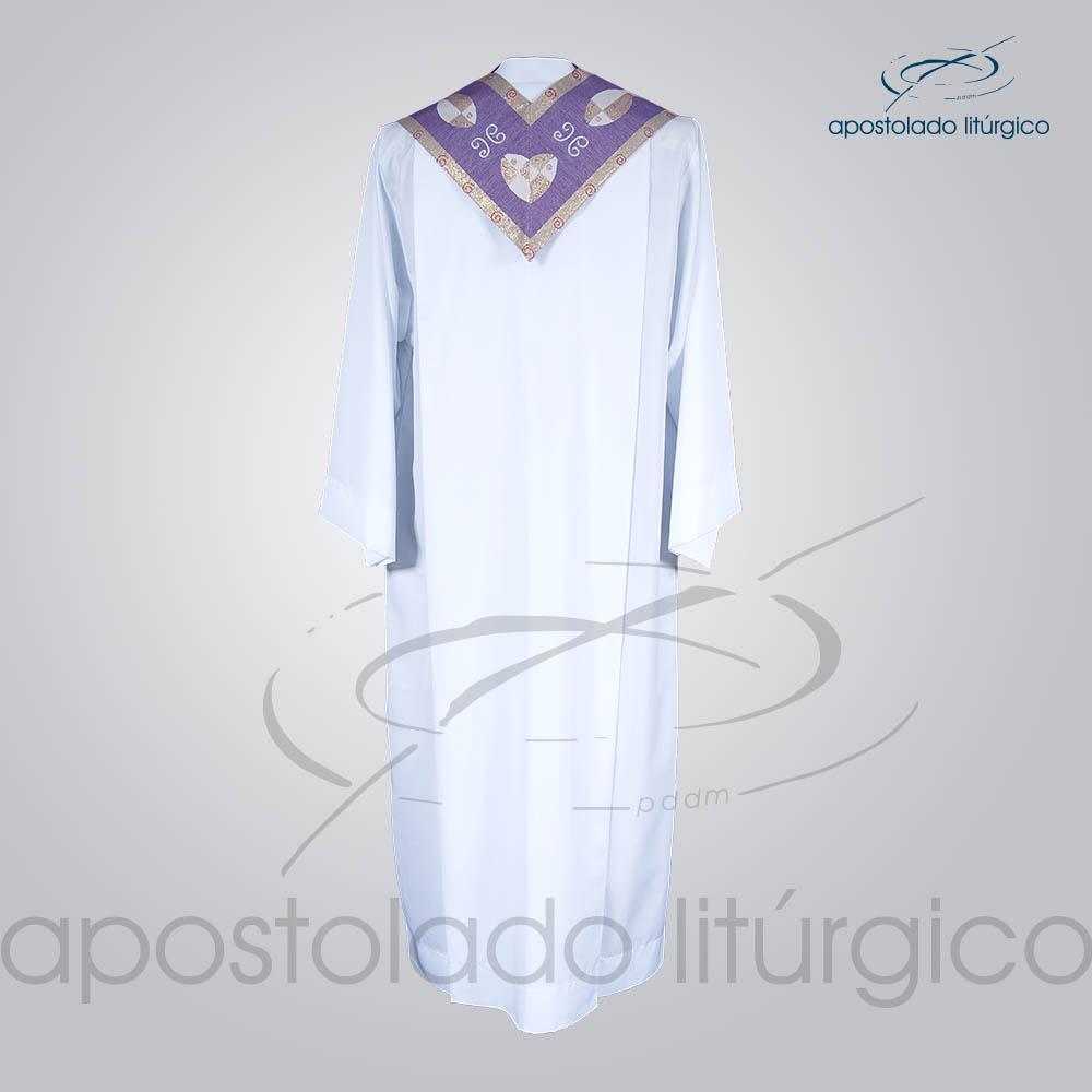 Estola Presbiteral Brocada Peixe Roxa Costas | Apostolado Litúrgico Brasil