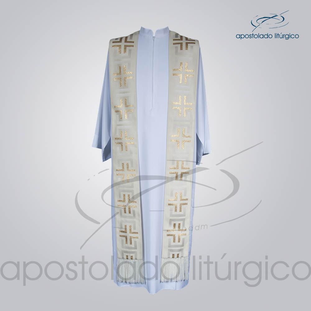 Estola Presbiteral Brocada Tupa Branca Frente | Apostolado Litúrgico Brasil