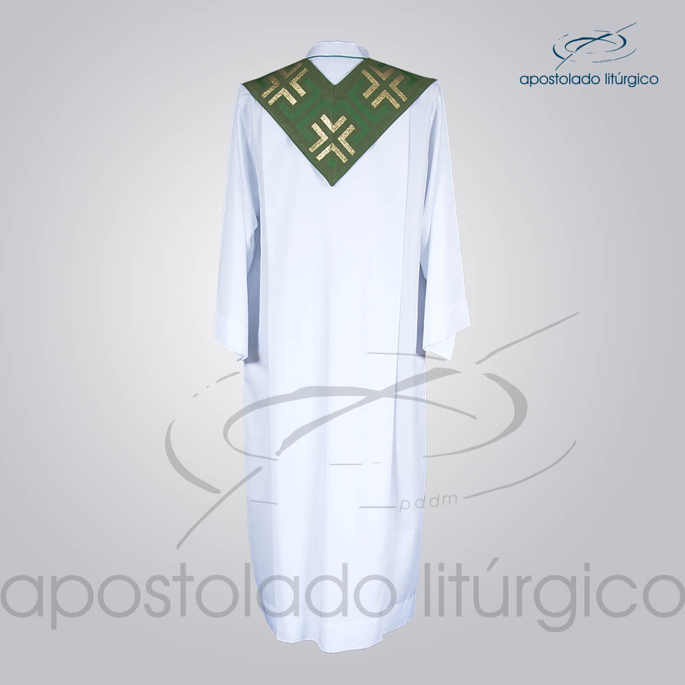 Estola Presbiteral Brocada Tupa Verde Costas   Apostolado Litúrgico Brasil