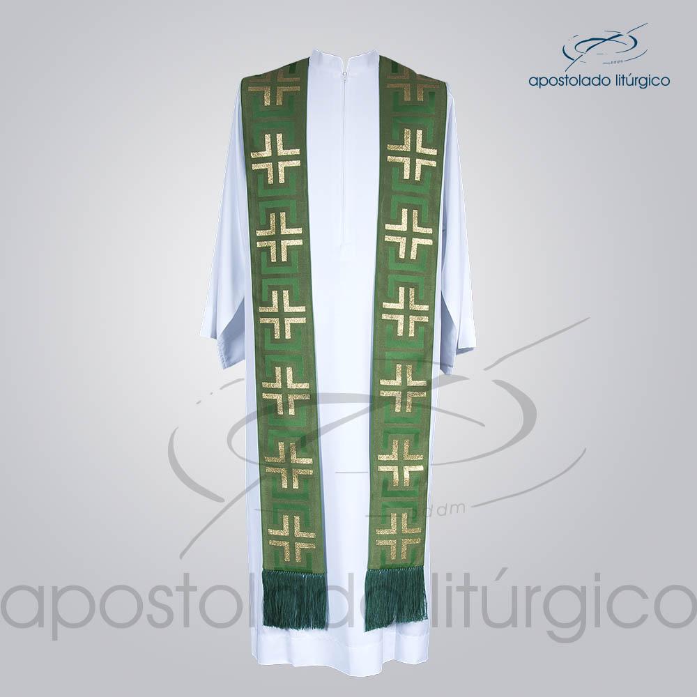 Estola Presbiteral Brocada Tupa Verde Frente | Apostolado Litúrgico Brasil