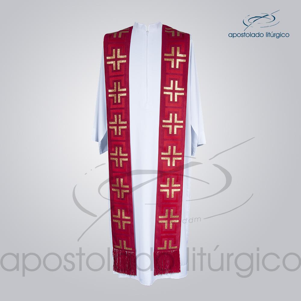 Estola Presbiteral Brocada Tupa Vermelha Frente | Apostolado Litúrgico Brasil
