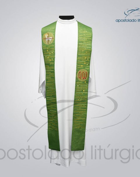 Estola Presbiteral Ravena Bordado [Cordeiro] Verde Frente