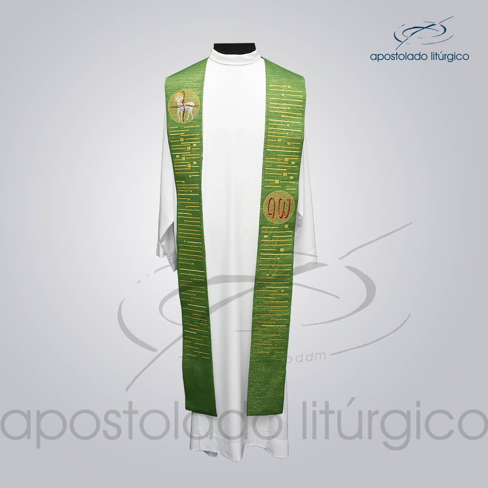 Estola Cordeiro Presbiteral Ravena Verde Bordado