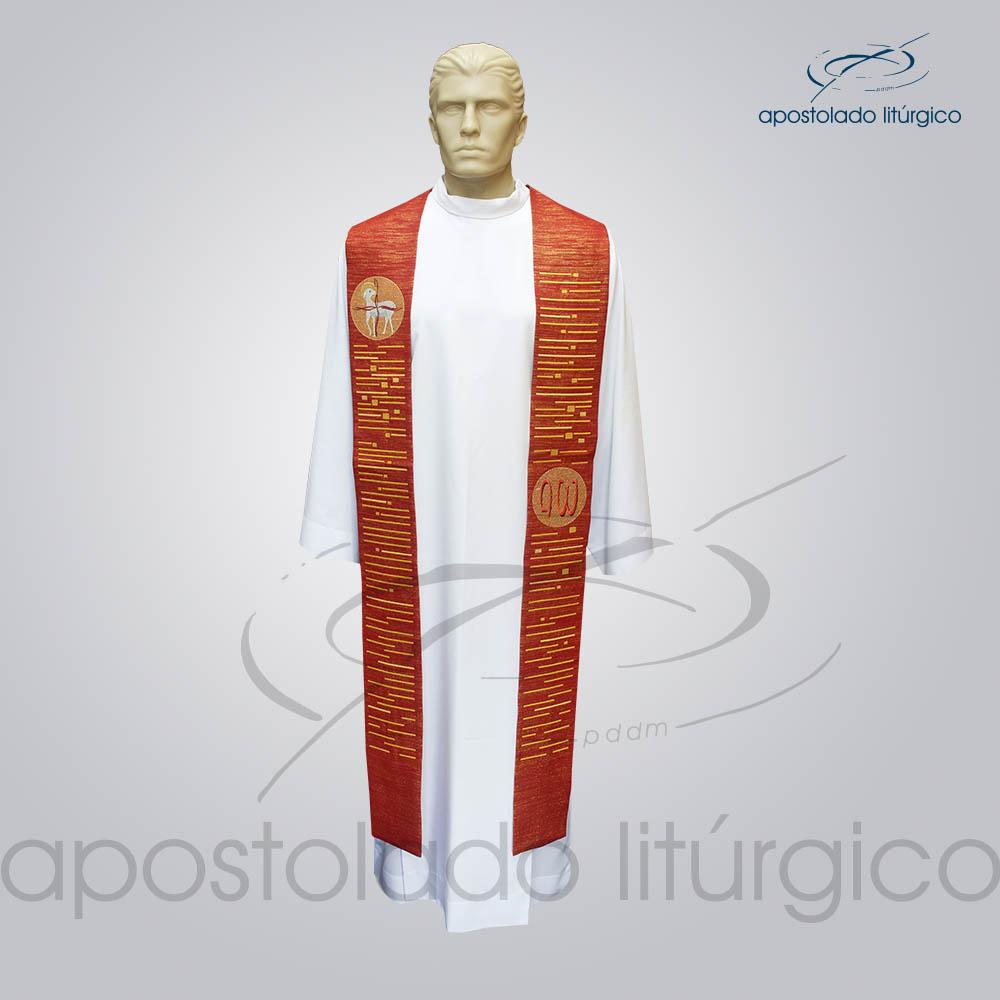 Estola Cordeiro Presbiteral Ravena Vermelha Bordado