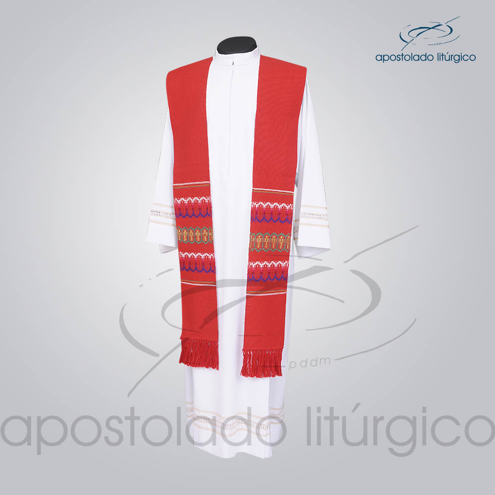Estola Presbiteral Tecelagem Grossa Vermelha