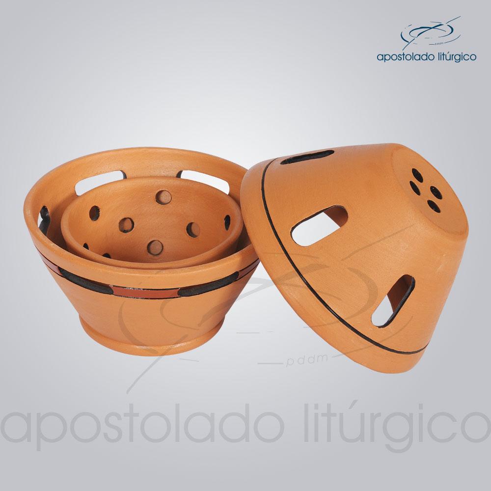 Incensorio Ceramica com Tampa 12 cm Betumado Aberto COD 2173 | Apostolado Litúrgico Brasil