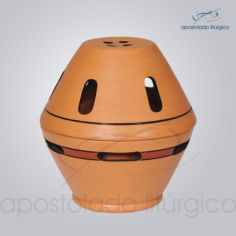 Incensorio Ceramica com Tampa 12 cm Betumado Fechado COD 2173 | Apostolado Litúrgico Brasil