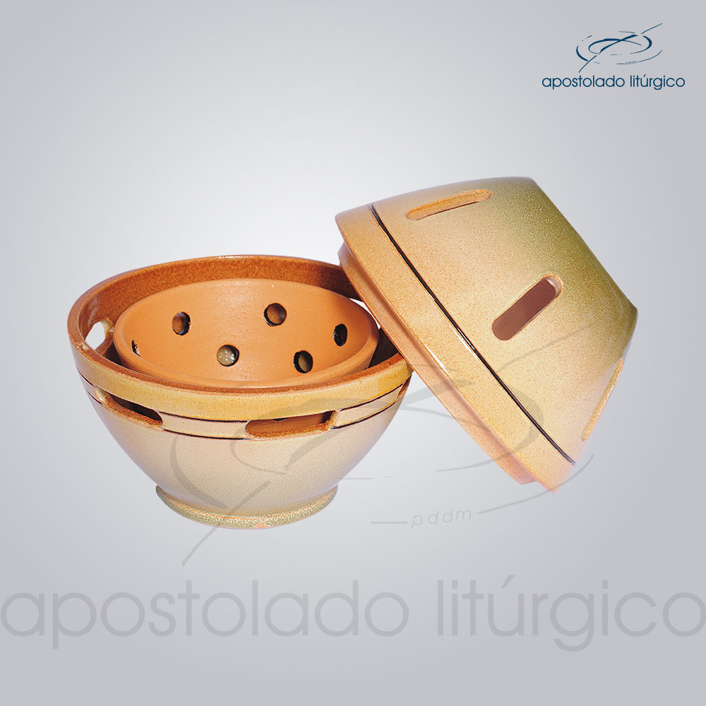 Incensorio Ceramica com Tampa 12 cm Esmaltado Verde Aberto COD 2173 | Apostolado Litúrgico Brasil