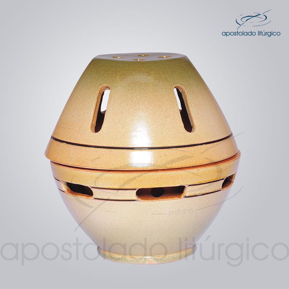 Incensorio Ceramica com Tampa 12 cm Esmaltado Verde Fechado COD 2173 | Apostolado Litúrgico Brasil
