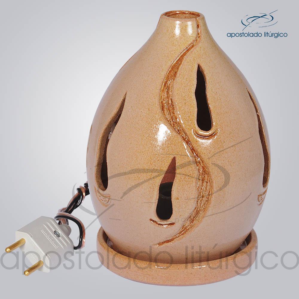 Indicador de Ceramica Chama Esmaltado Mesa Medio 15cm Rosa COD 2030 | Apostolado Litúrgico Brasil