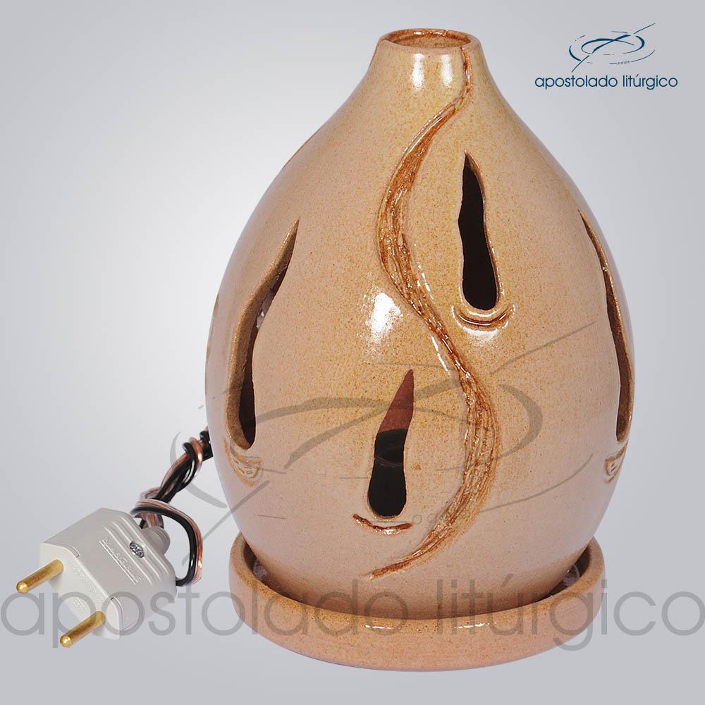 Indicador de Ceramica Chama Esmaltado Mesa Pequeno 13cm Rosa COD 2035 | Apostolado Litúrgico Brasil