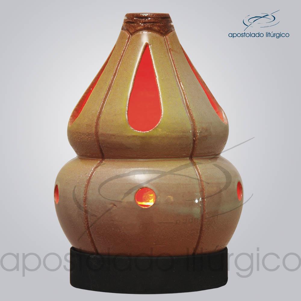 Indicador de Ceramica Chama Olho Esmaltado Parede Medio 15 cm Esverdeado COD 2175 | Apostolado Litúrgico Brasil
