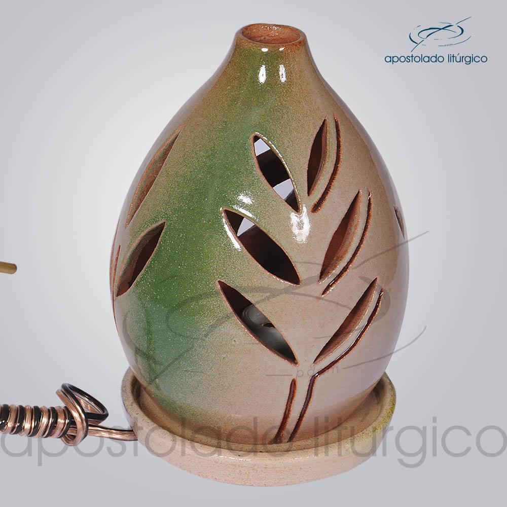 Indicador de Ceramica Folha Esmaltado Mesa Medio 15cm Rosa Verde COD 2123 | Apostolado Litúrgico Brasil