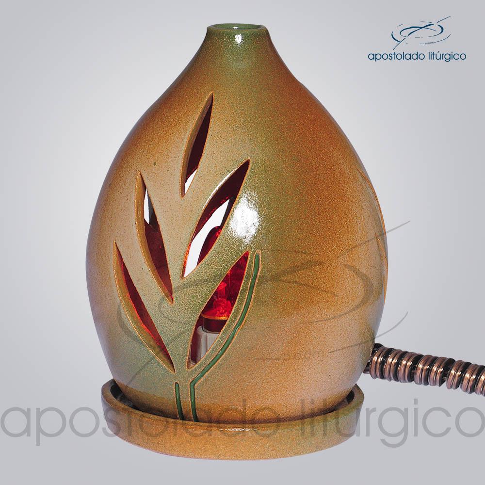 Indicador de Ceramica Folha Esmaltado Mesa Medio 15cm Verde COD 2123 | Apostolado Litúrgico Brasil
