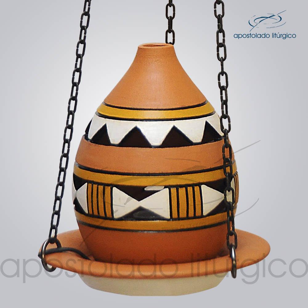 Indicador de Ceramica Grega Com Corrente Pequeno 13cm Amarelo