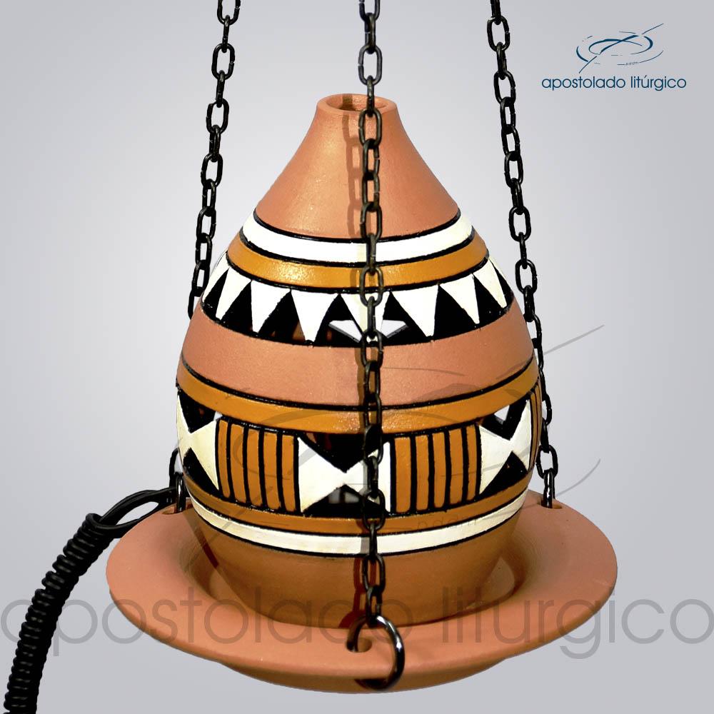 Indicador de Ceramica Grega Com Corrente Pequeno 13cm Branco e Amarelo 2 COD 39972 | Apostolado Litúrgico Brasil
