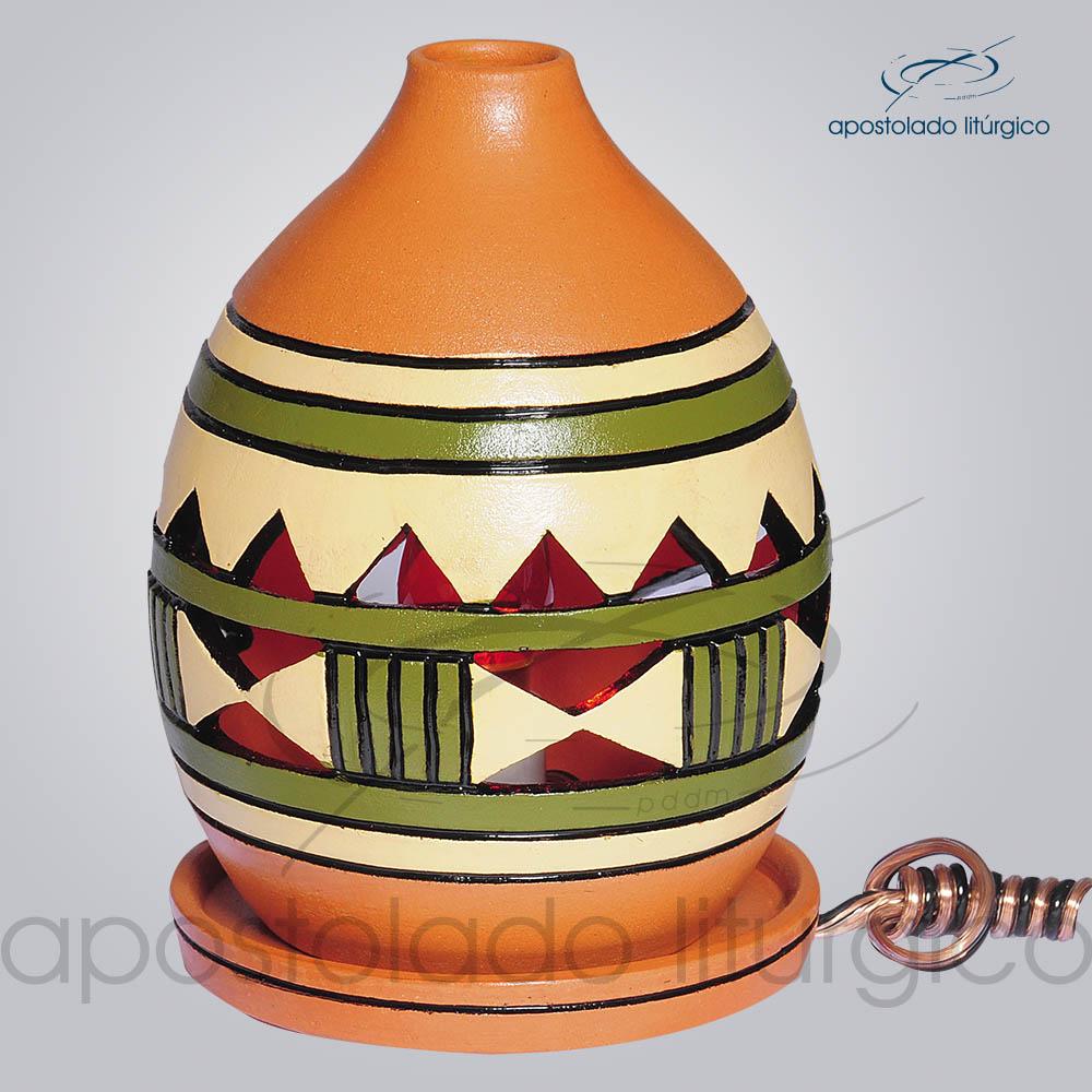 Indicador de Ceramica Grega Mesa Pequeno 13cm Verde 1 COD 2217 | Apostolado Litúrgico Brasil