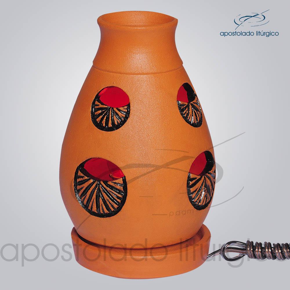 Indicador de Ceramica Lampiao Olho Betume Mesa 13cm COD 2220 | Apostolado Litúrgico Brasil