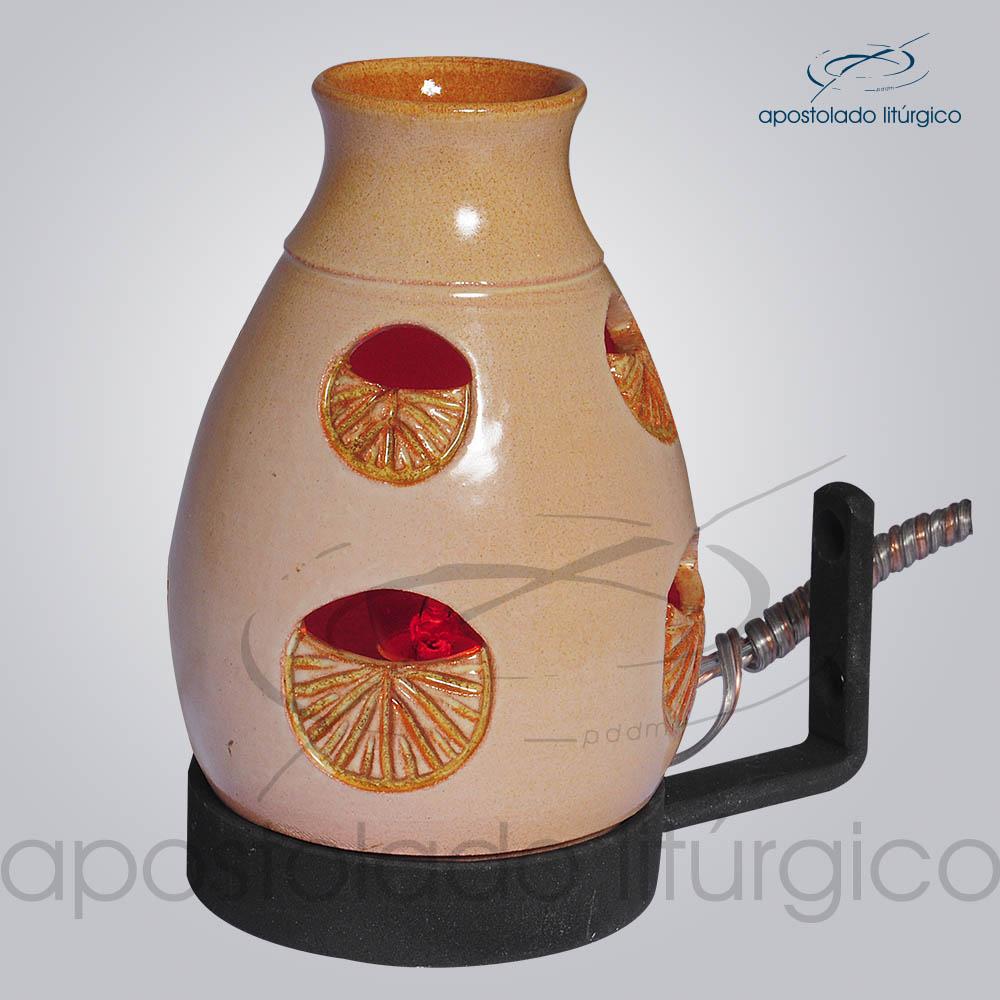 Indicador de Ceramica Lampiao Olho Esmaltado Parede 13 cm COD 2219 | Apostolado Litúrgico Brasil