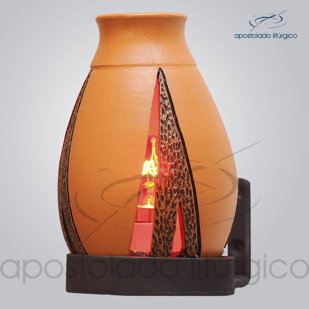 Indicador de Ceramica Lampiao Triangular Betume Parede 13cm COD 2222 1 | Apostolado Litúrgico Brasil