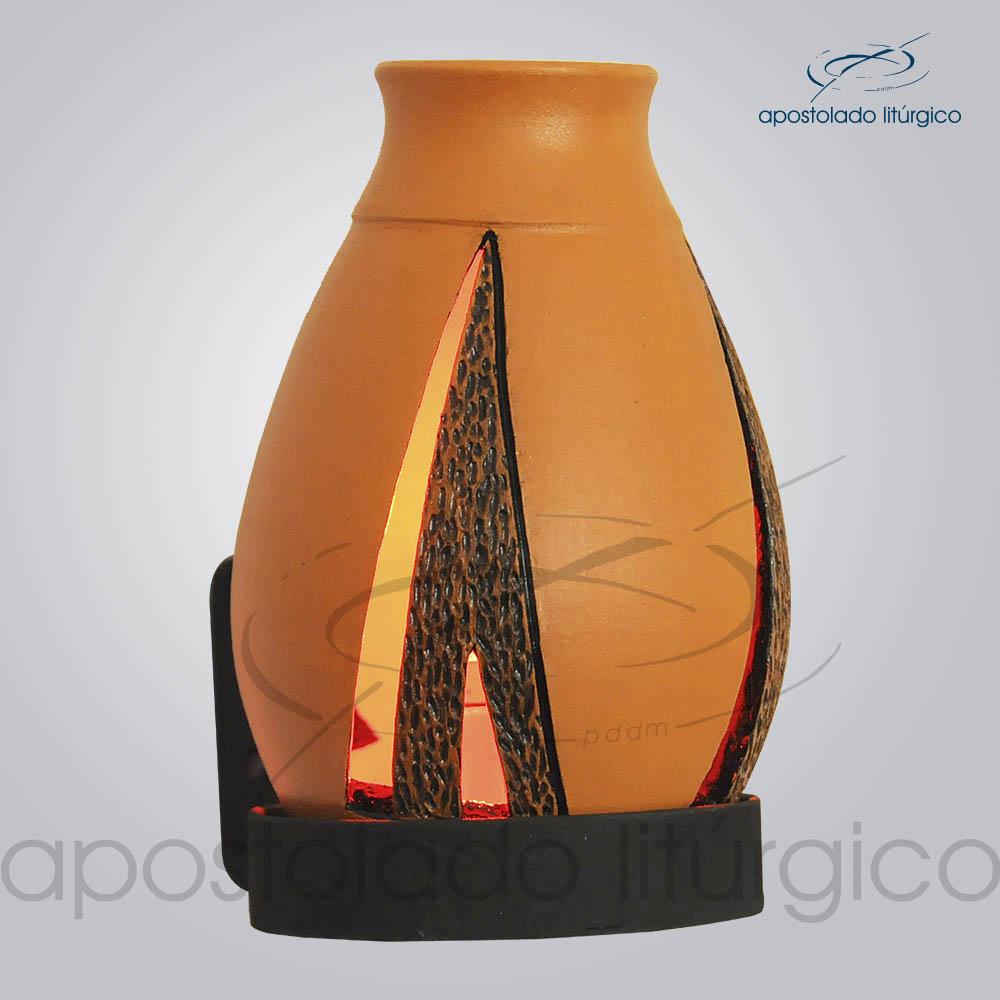 Indicador de Ceramica Lampiao Triangular Betume Parede 13cm COD 2222 2 | Apostolado Litúrgico Brasil