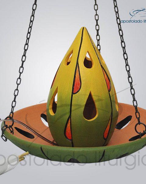 Indicador de Ceramica Para Sacrario Gota 16cm Com Corrente 20cm Diametro Verde 1 – COD 2049