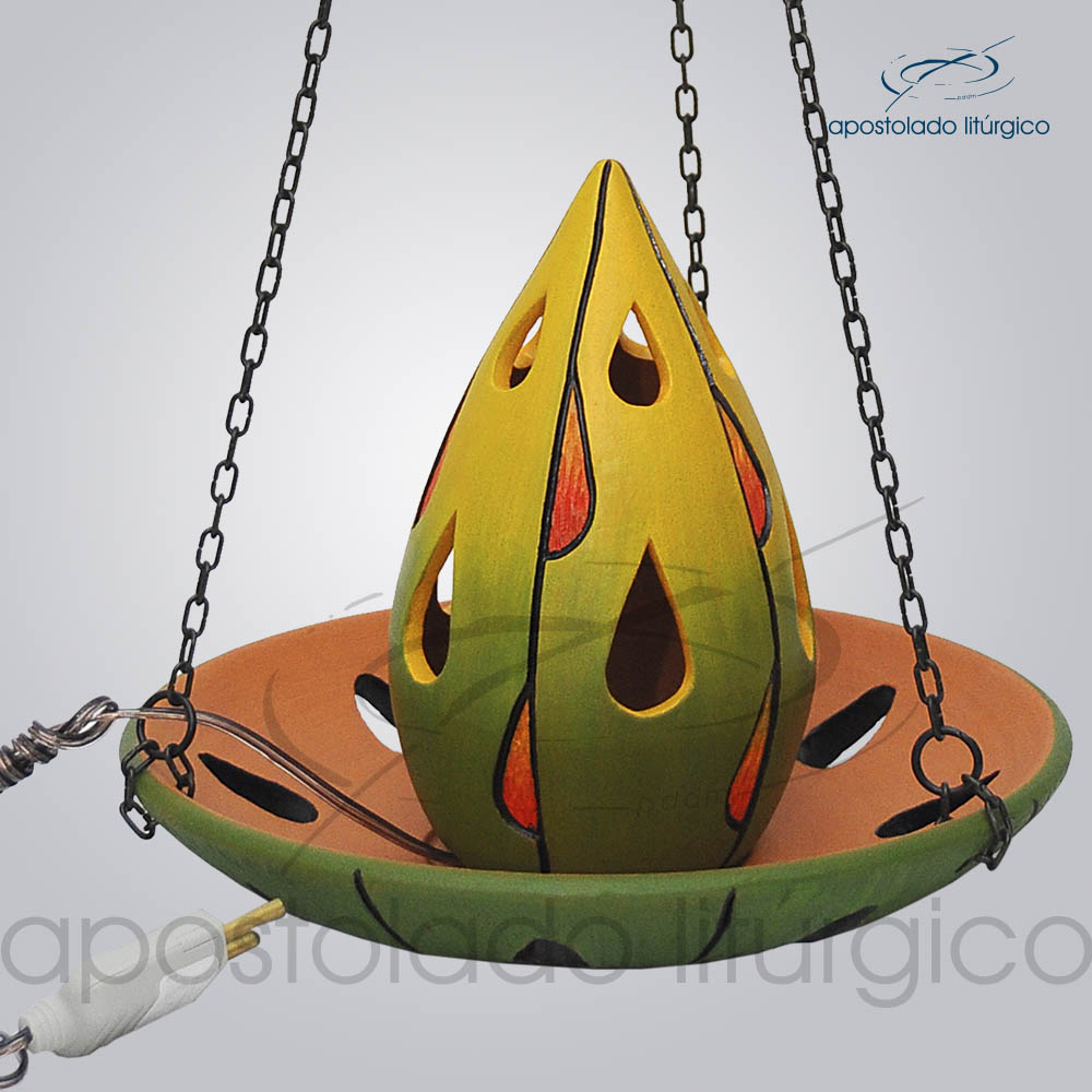 Indicador de Ceramica Para Sacrario Gota 16cm Com Corrente 20cm Diametro Verde 1 COD 2049 | Apostolado Litúrgico Brasil