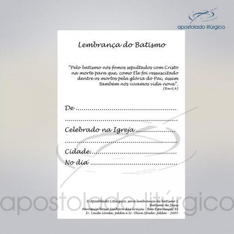 Lembrança para Batismo 11X8 cm verso 2 COD 03052-0000