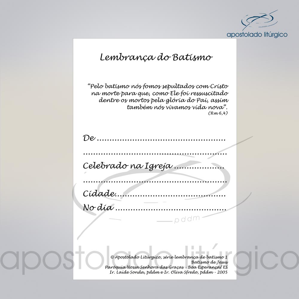 Lembranca para Batismo 11X8 cm verso 2 COD 03052 0000   Apostolado Litúrgico Brasil