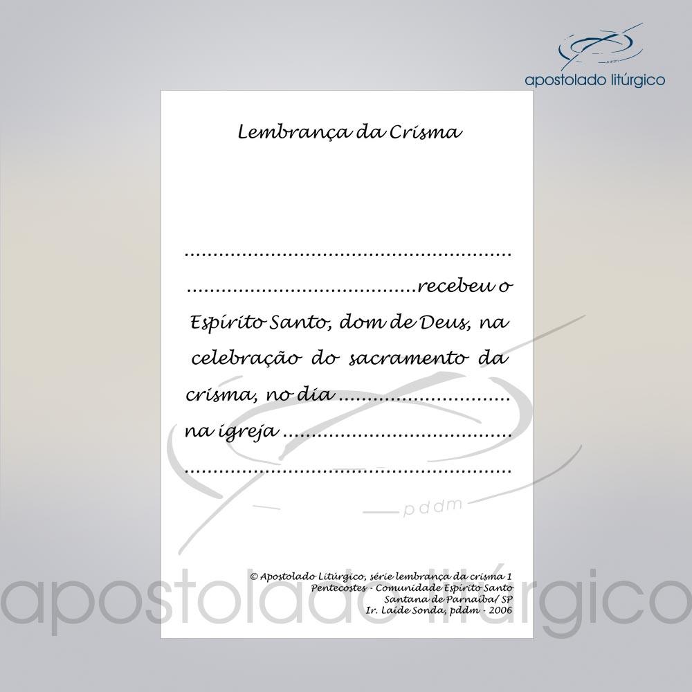 Lembranca para Crisma 11X8 cm verso COD 03053 0000 | Apostolado Litúrgico Brasil