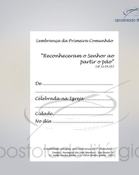 Lembranca para Primeira Comunha0 11X8 cm VERSO DISCIPULOS DE EMAUS COD 03051-0000