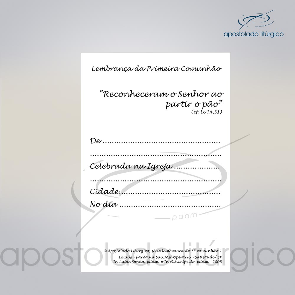 Lembranca para Primeira Comunha0 11X8 cm VERSO DISCIPULOS DE EMAUS COD 03051 0000 | Apostolado Litúrgico Brasil