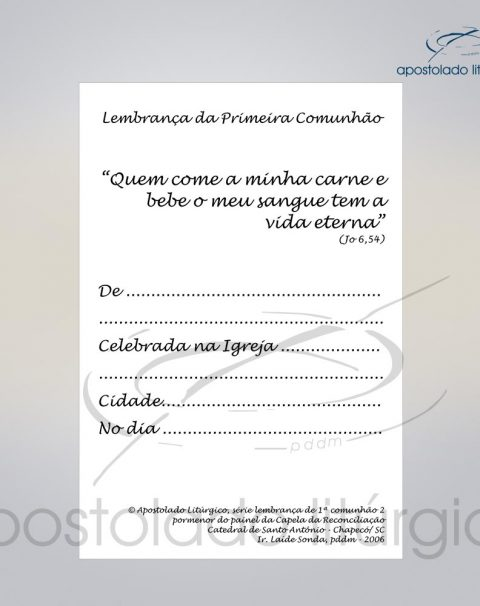 Lembranca para Primeira Comunha0 11X8 cm VERSO PAO E VINHO COD 03051-0000