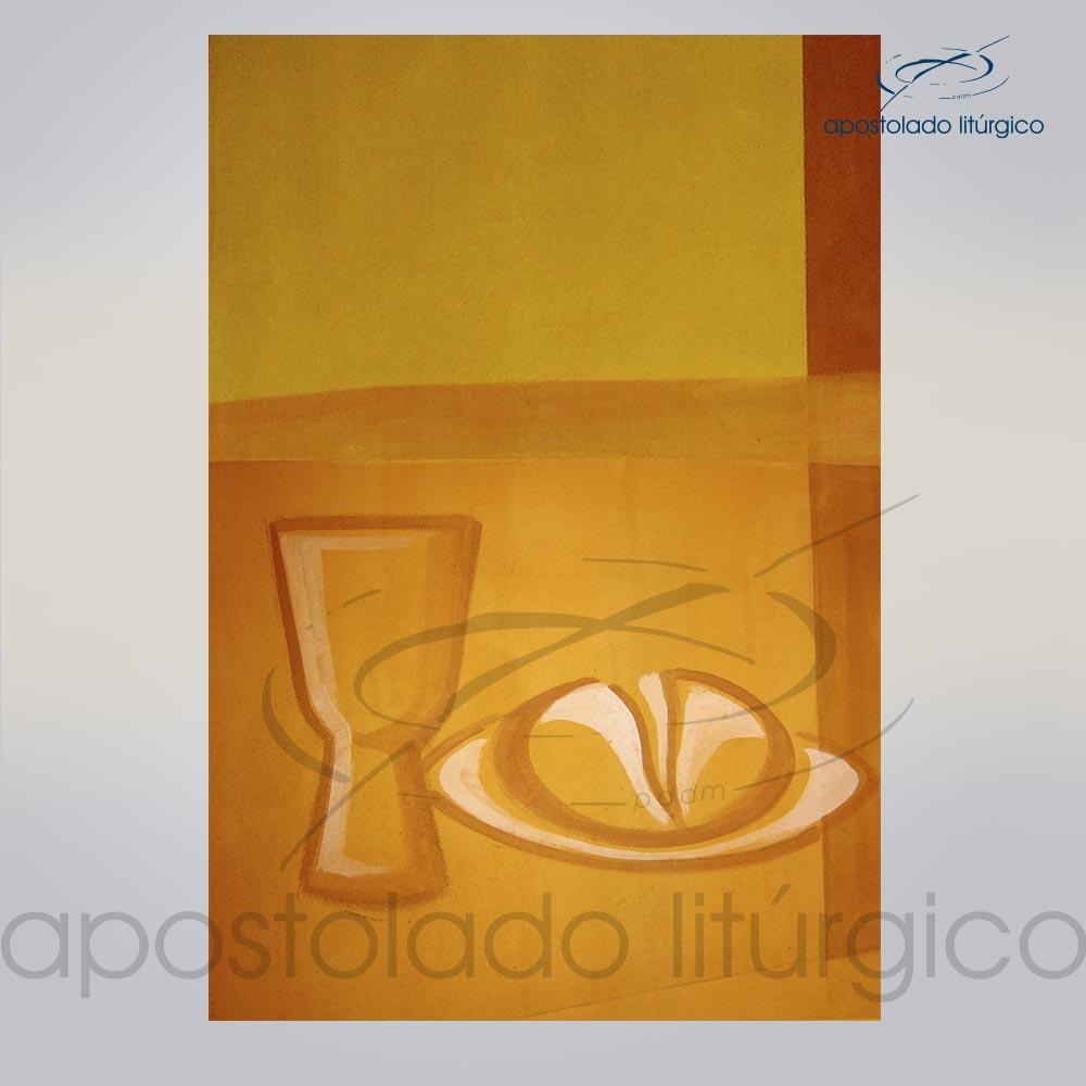 Lembranca para Primeira Comunhao 11X8 cm frente PAO E VINHO COD 03051 0000 | Apostolado Litúrgico Brasil
