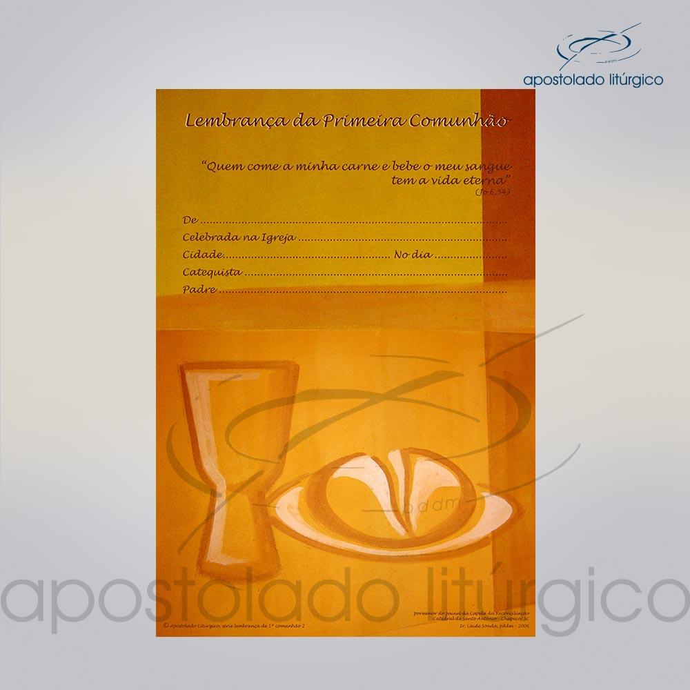 Lembranca para Primeira Comunhao Frente PAO E VINHO COD 03064 0000 | Apostolado Litúrgico Brasil