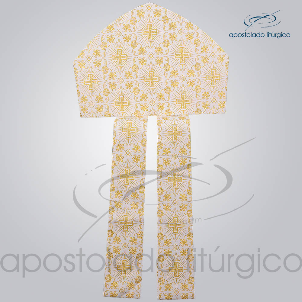 Mitra Classica Brocada Cruz 1 Sem Galao Infola COD 3539 | Apostolado Litúrgico Brasil